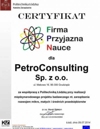Certyfikat Firma Przyjazna Nauce - Lipiec 2014