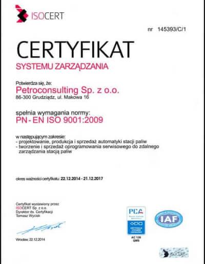 Certyfikat PN-EN ISO 9001:2009 - Grudzień 2014