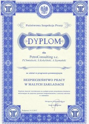 Dyplom Państwowej Inspekcji Pracy - Grudzień 2012