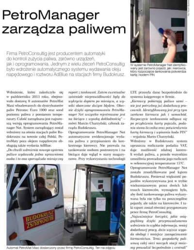 Artykuł - o zarządzaniu paliwem na przykładzie firmy BUDOKRUSZ