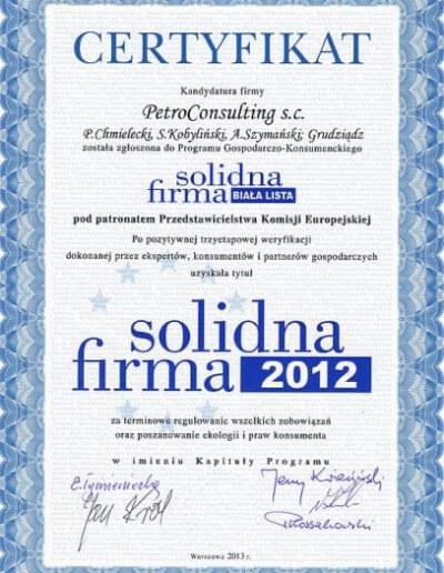 Certyfikat Solidna Firma 2012 - Styczeń 2013