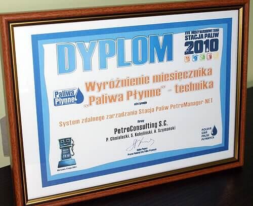 Wyróżnienie dla Systemu Zdalnego Zarządzania Stacją Paliw - PetroManager NET - Maj 2010