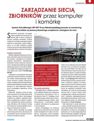 """Artykuł pt. """"Zarządzanie siecią zbiorników przez komputer i komórkę"""""""