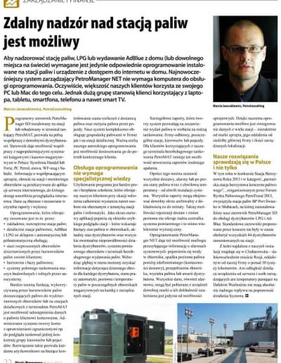 Artykuł nt. Możliwości zdalnego nadzoru nad stacją paliw