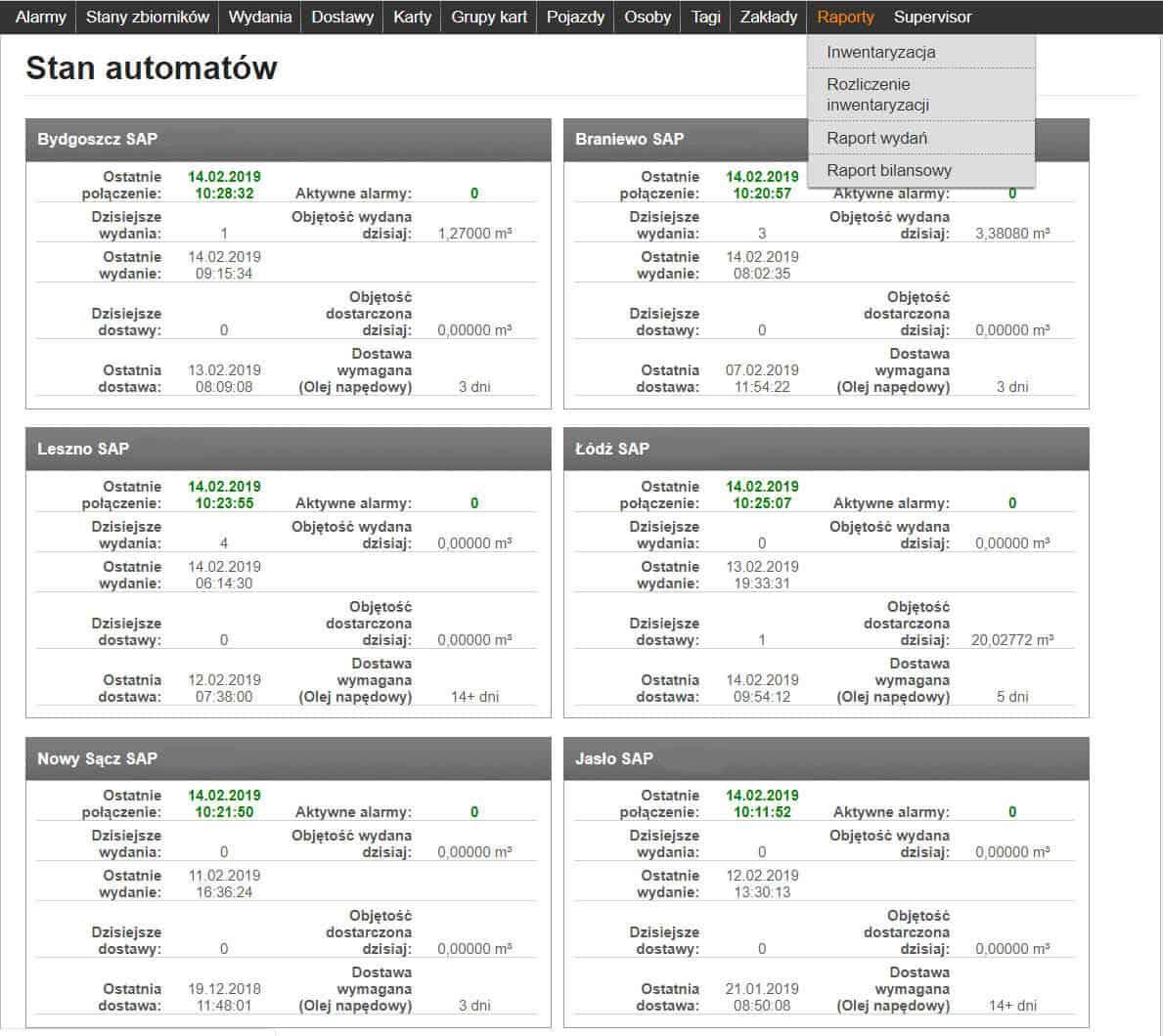 Opis stanu automatów tankujących
