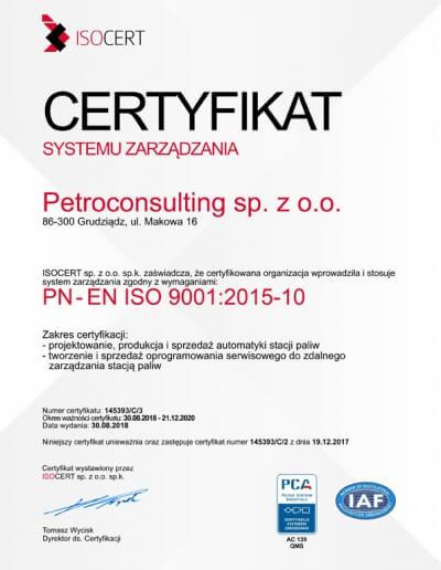 ISO 9001-2015 uzyskany w 2019 r.