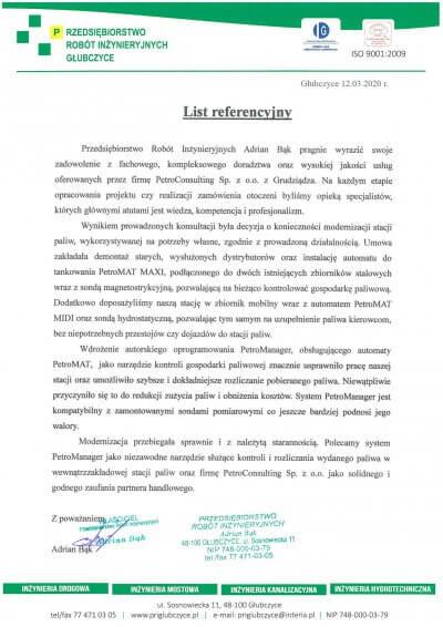 PRI Głubczyce – list referencyjny